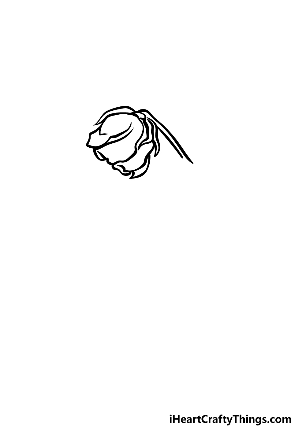 how to draw a dead rose step 1