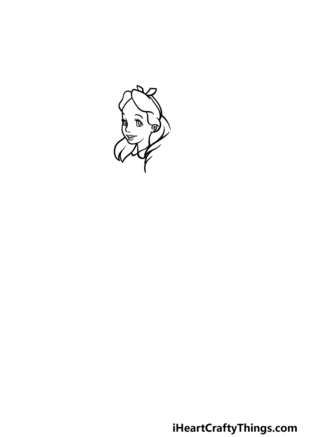 how to draw Alice in Wonderland step 1