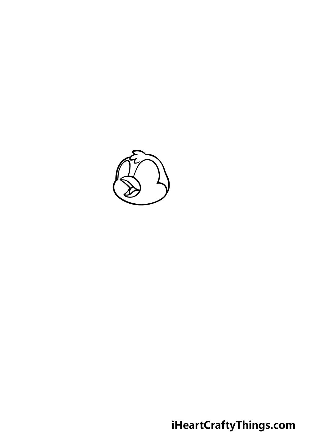 how to draw a cartoon bird step 1
