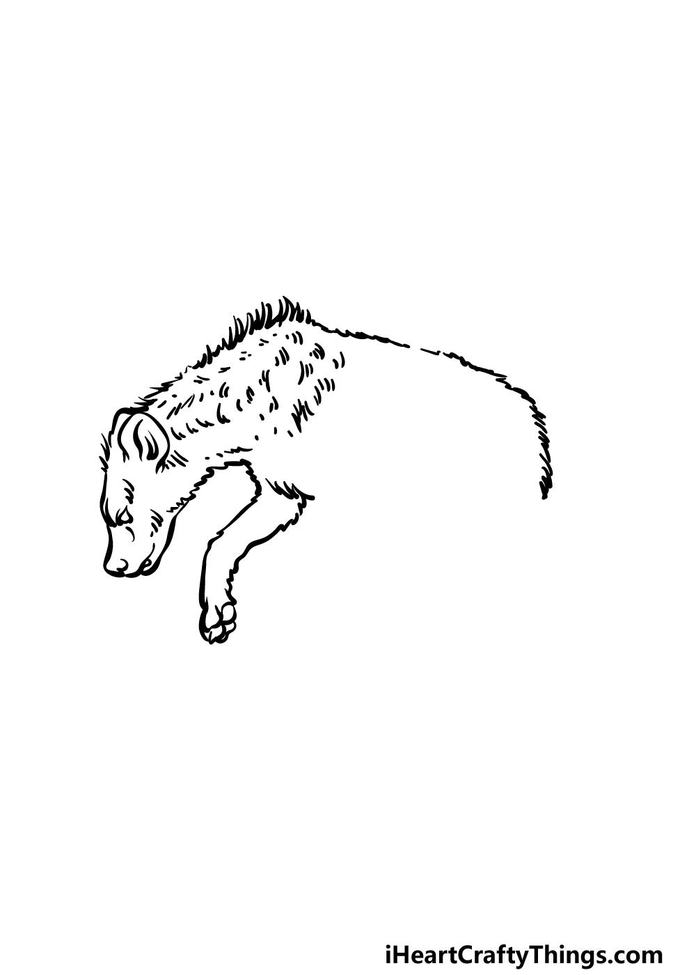 how to draw a hyena step 2