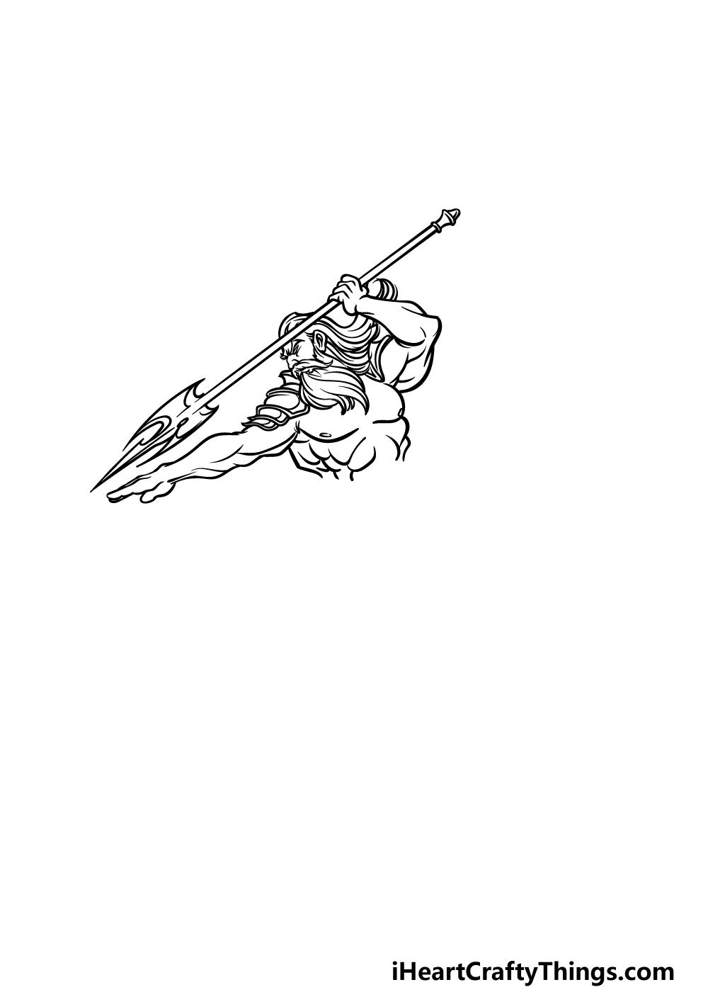 how to draw Poseidon step 2