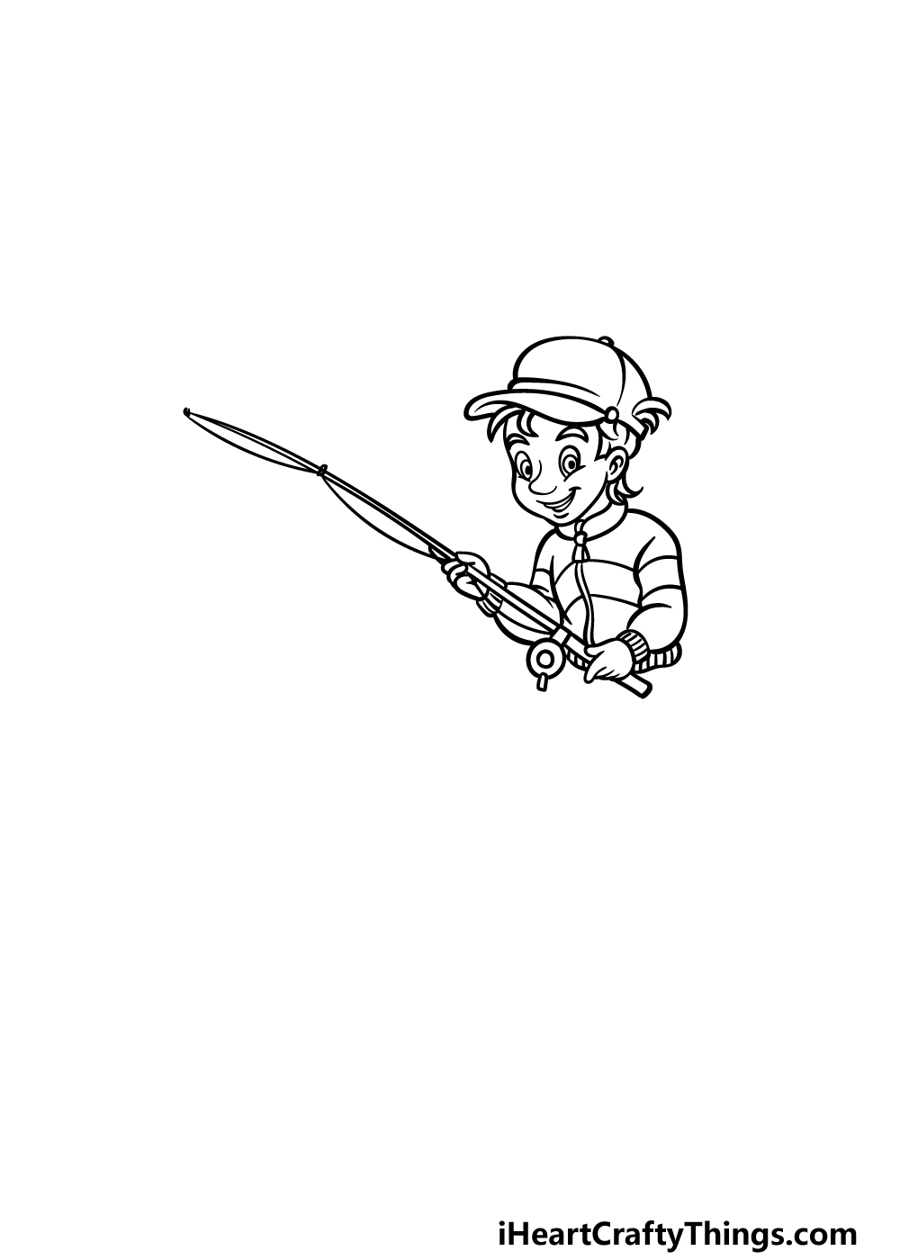 how to draw fishing step 2