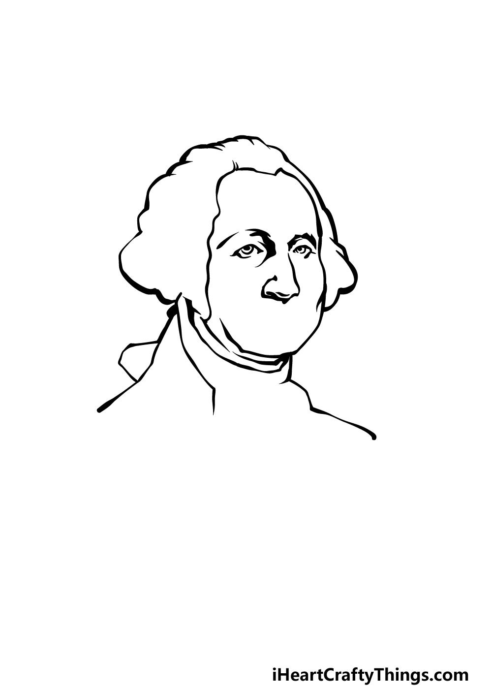 how to draw George Washington step 2