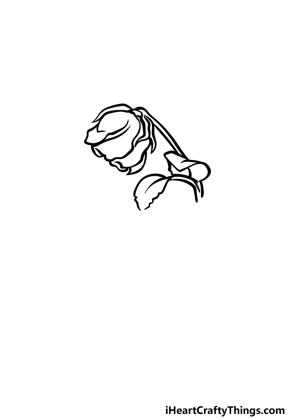 how to draw a dead rose step 2