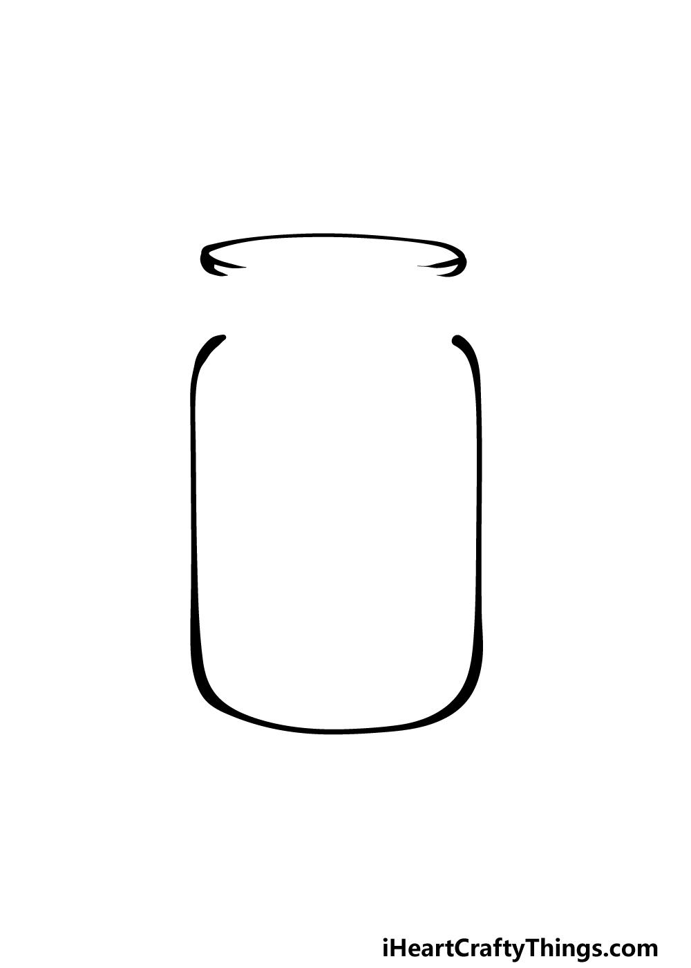 how to draw a mason jar step 2