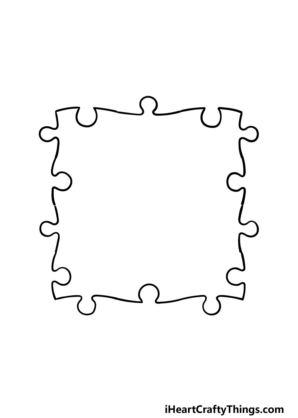 how to draw Puzzle Pieces step 2