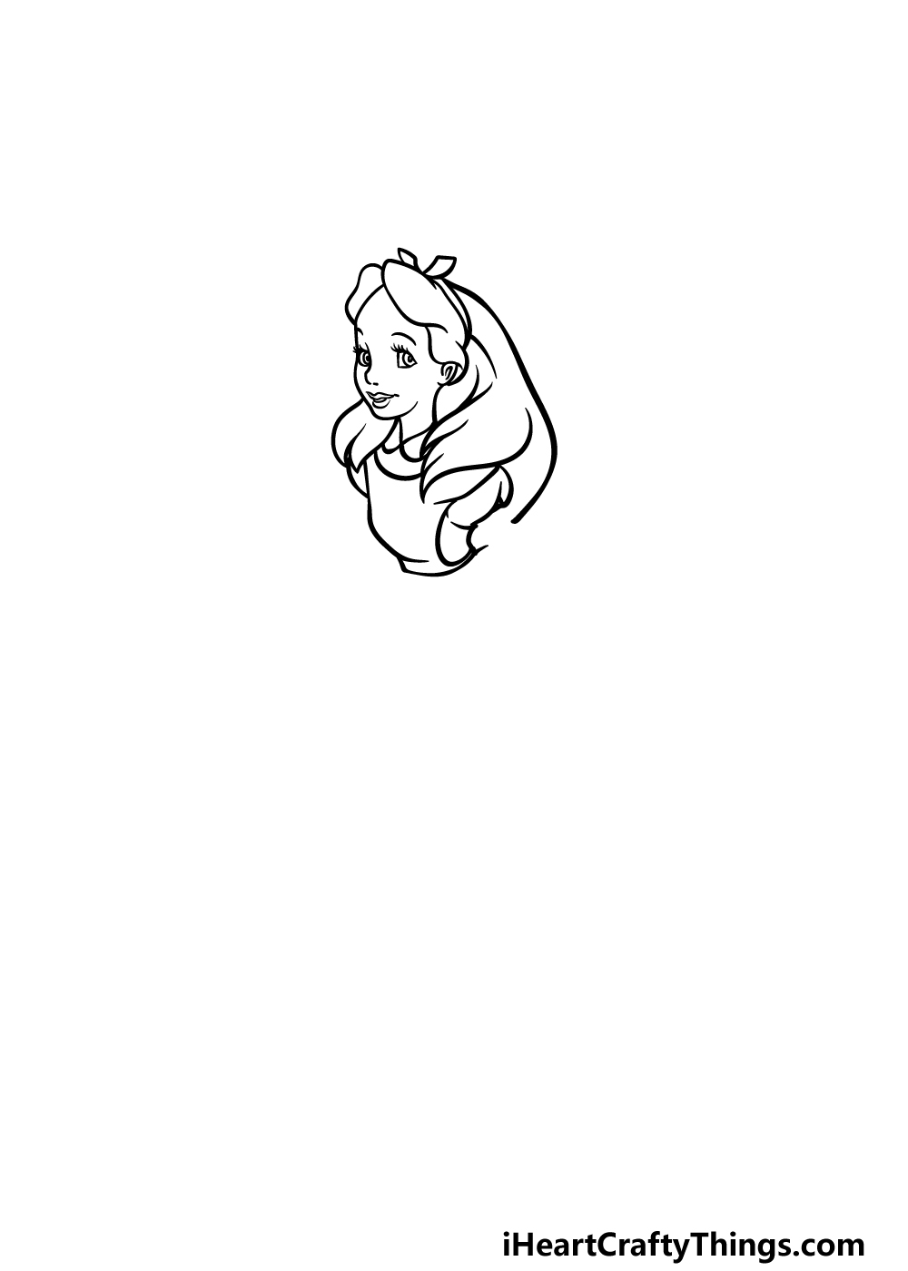 how to draw Alice in Wonderland step 2