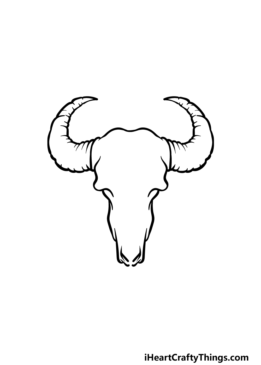 how to draw a bull skull step 2