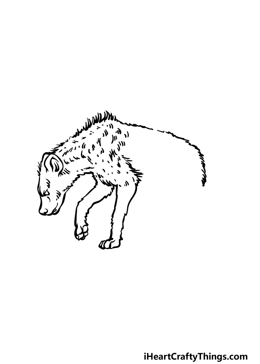how to draw a hyena step 3