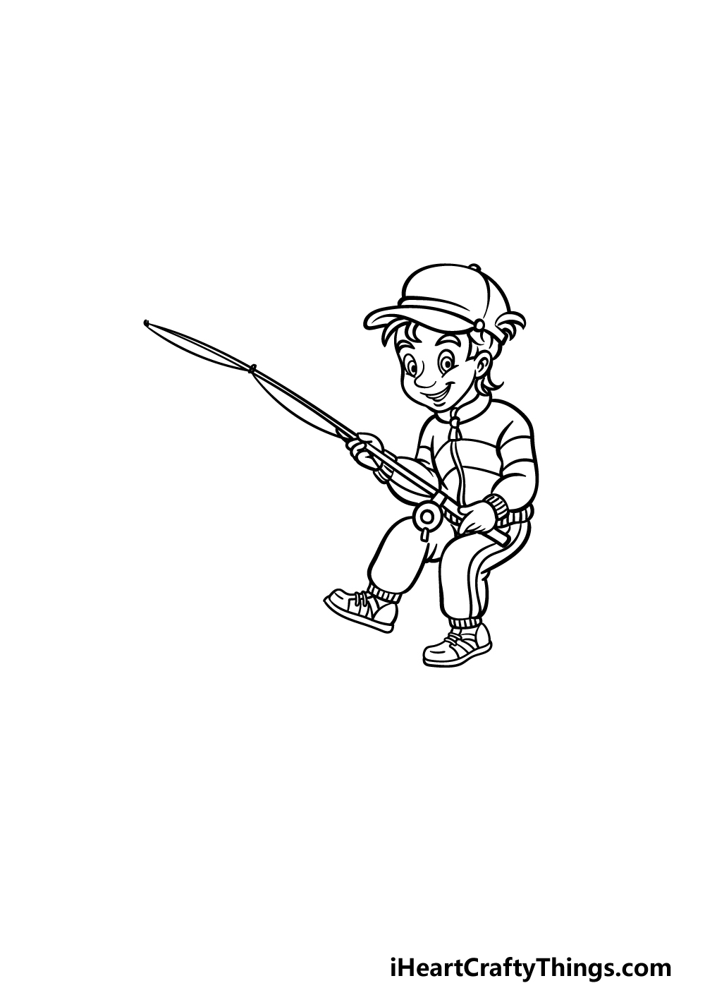 how to draw fishing step 3