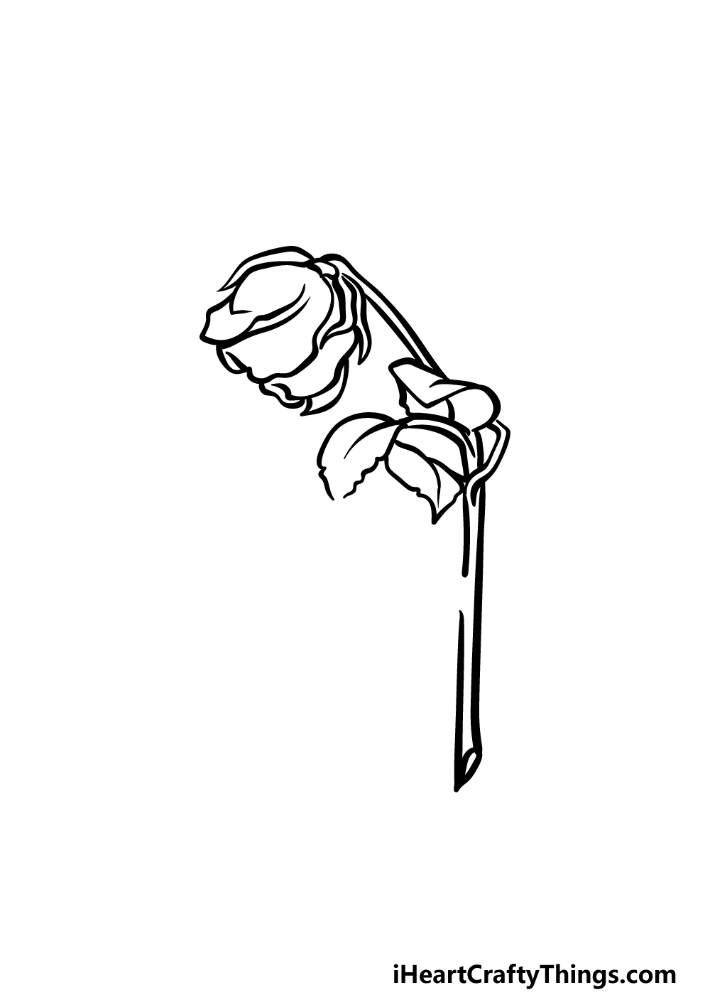 how to draw a dead rose step 3