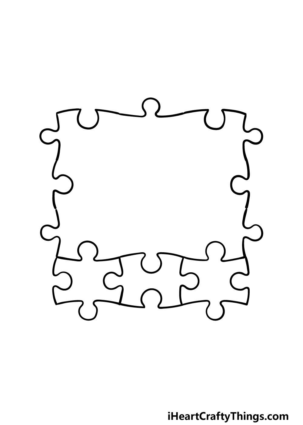 how to draw Puzzle Pieces step 3