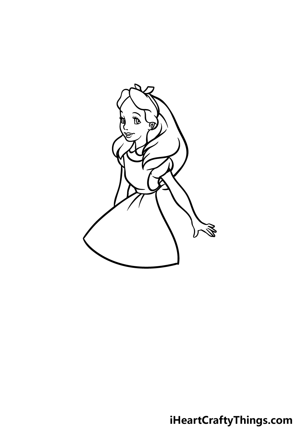 how to draw Alice in Wonderland step 3