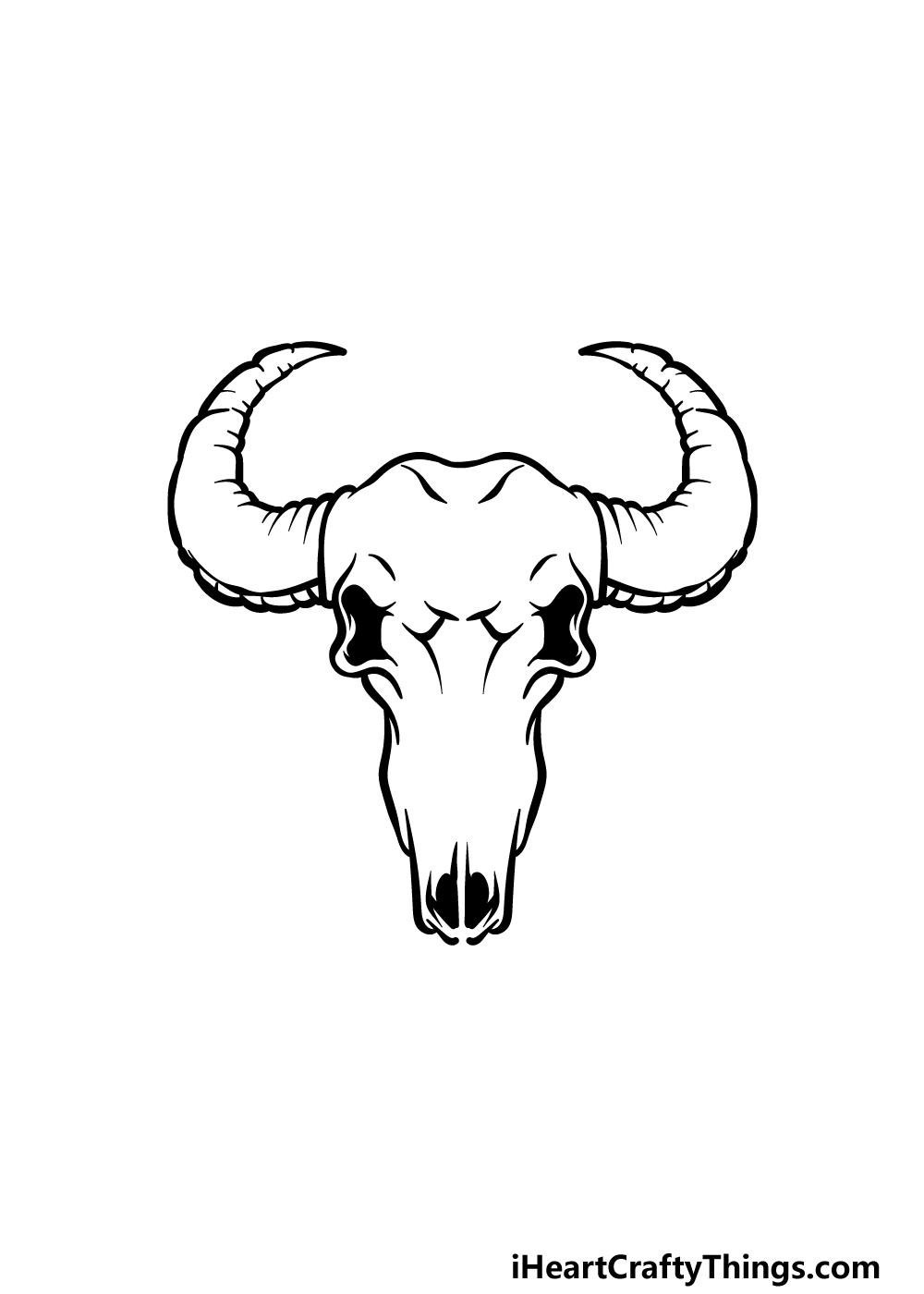 how to draw a bull skull step 3