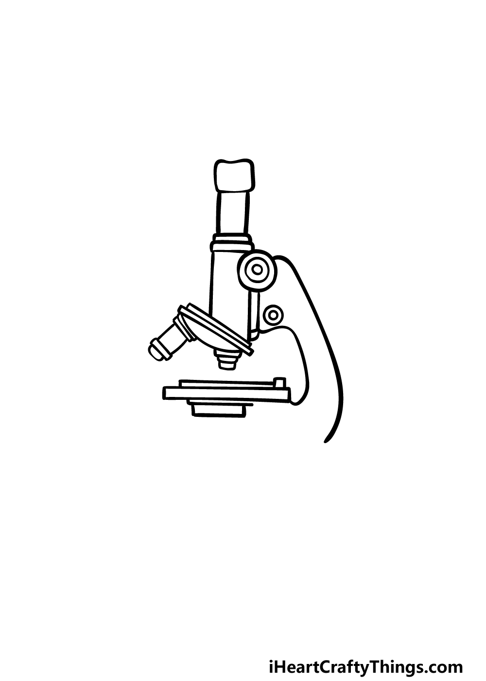 how to draw a microscope step 3