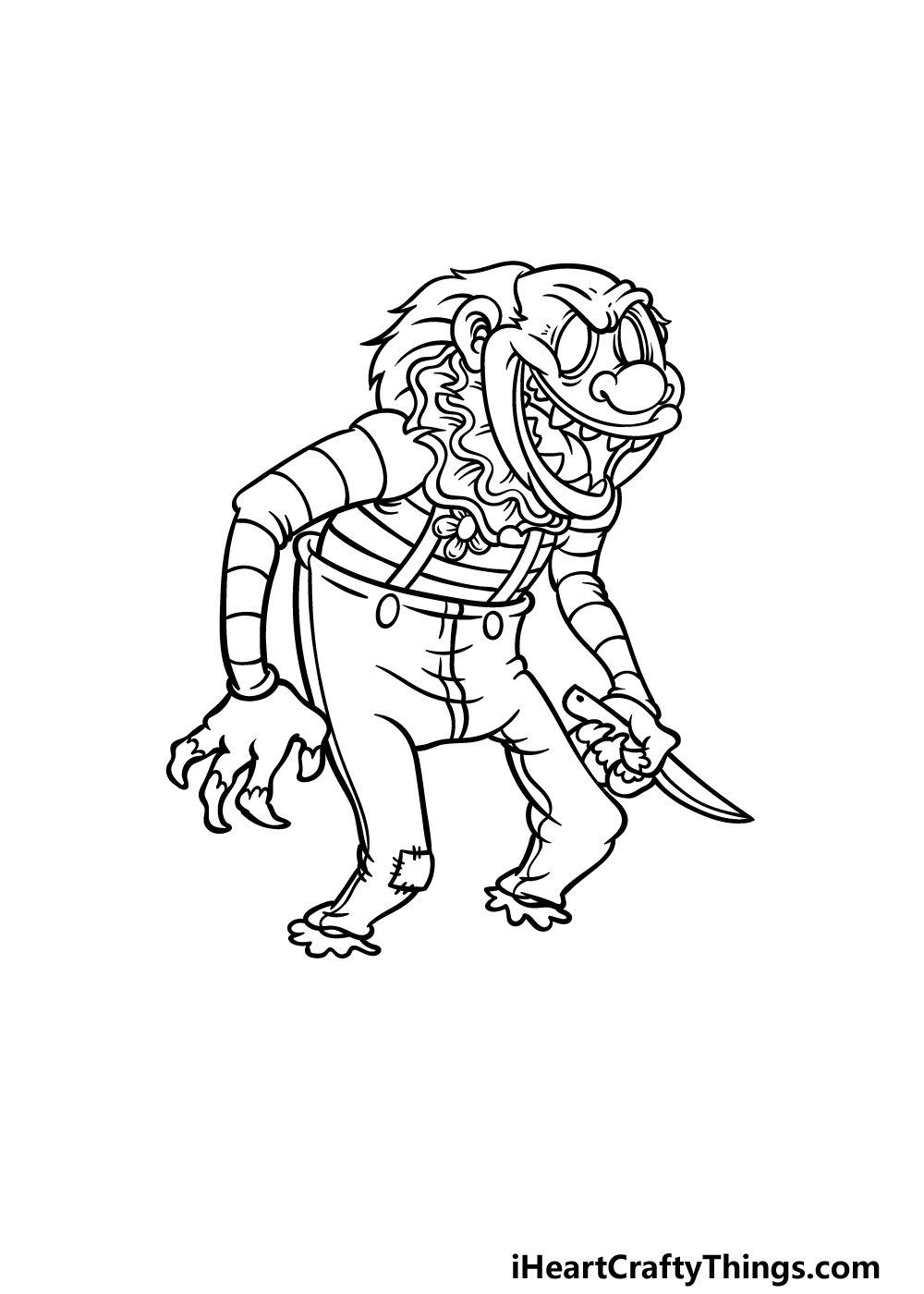 drawing a scary clown step 4