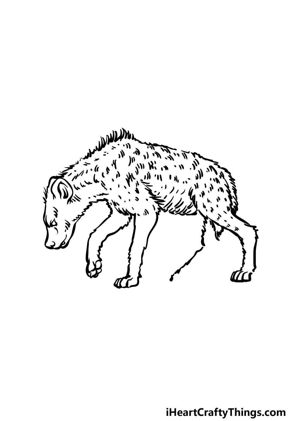 how to draw a hyena step 4