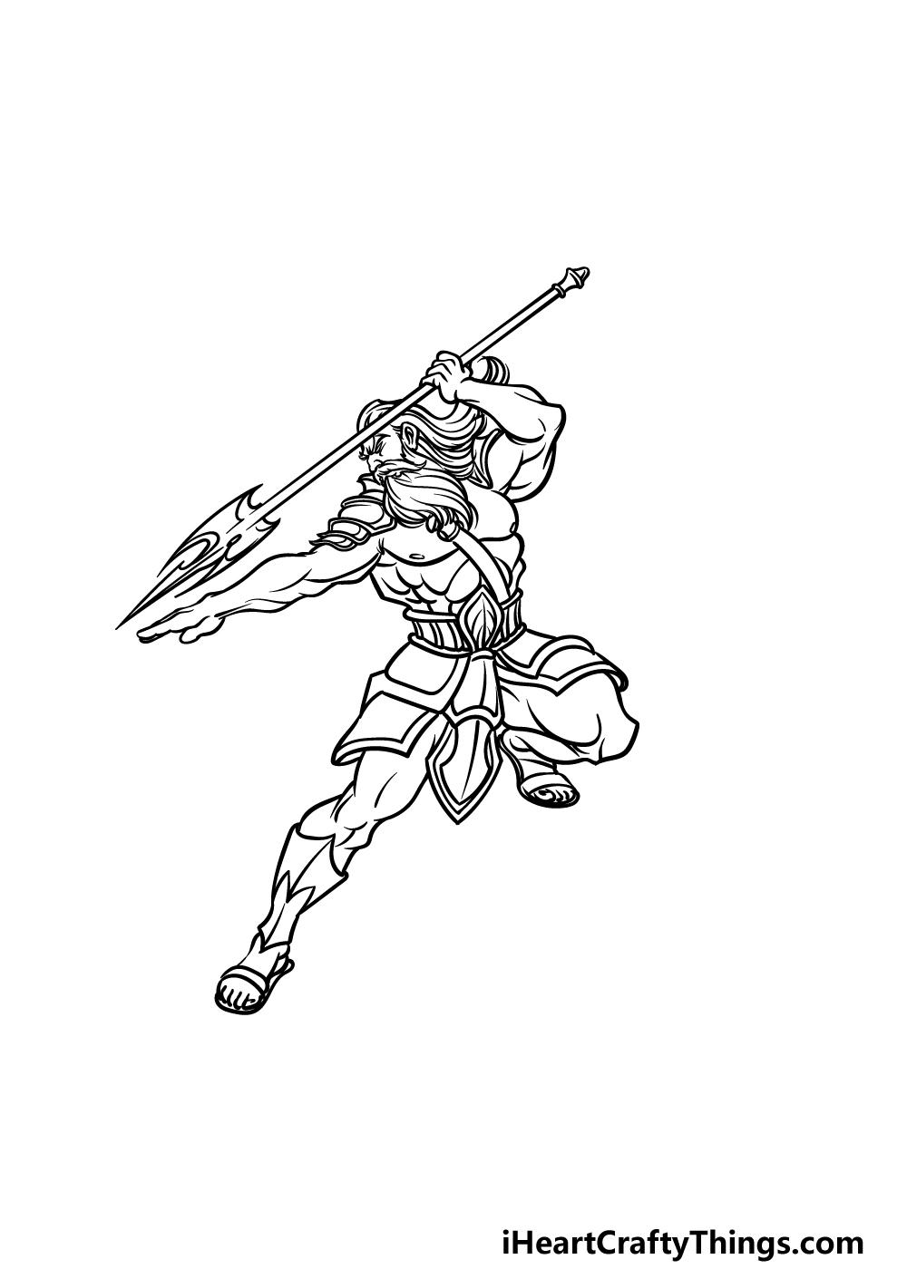 how to draw Poseidon step 4