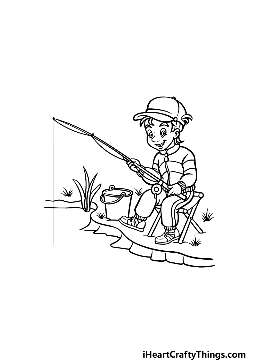 how to draw fishing step 4