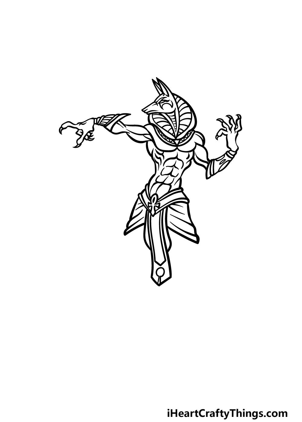 drawing Anubis step 4