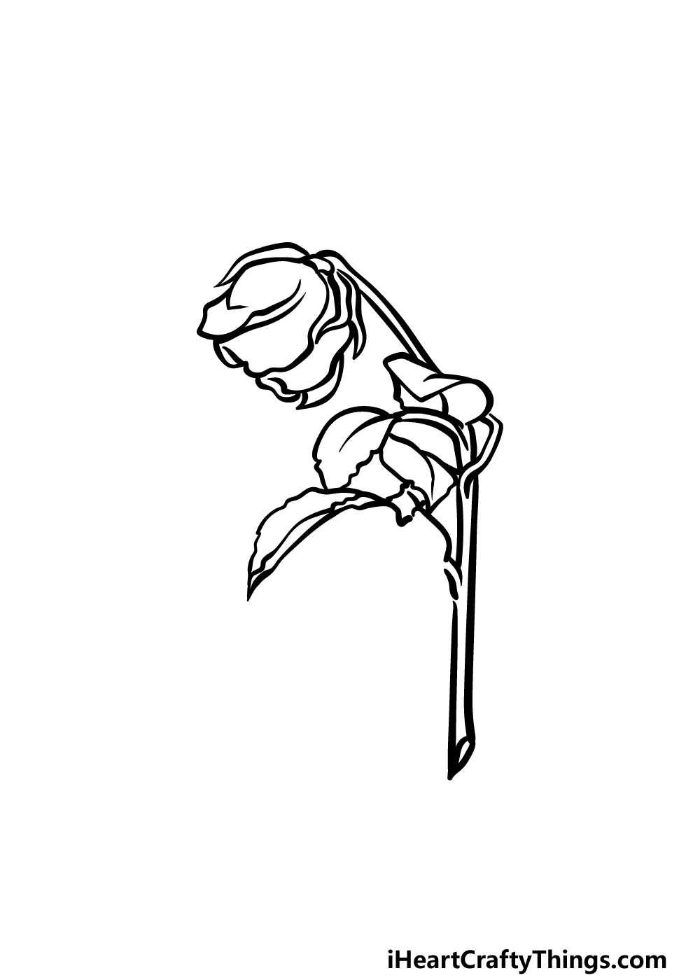 how to draw a dead rose step 4