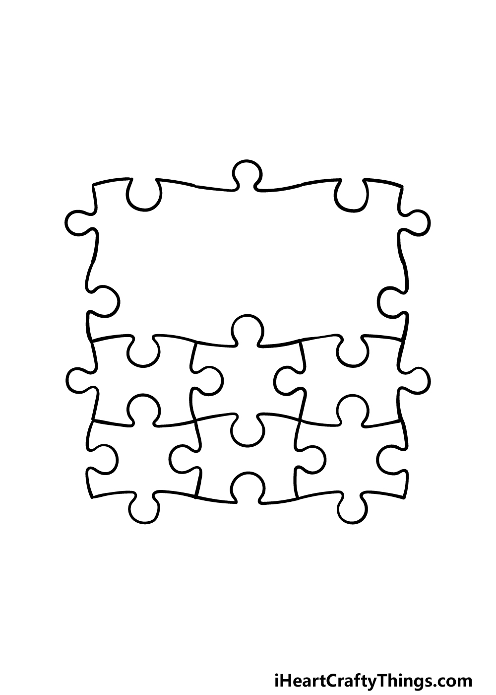 how to draw Puzzle Pieces step 4