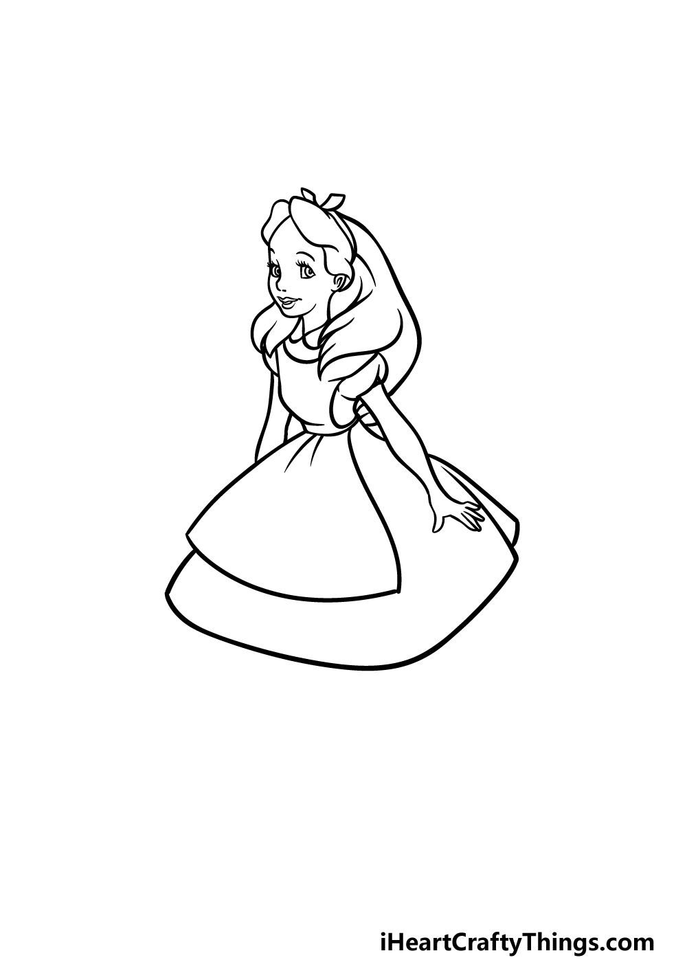 how to draw Alice in Wonderland step 4