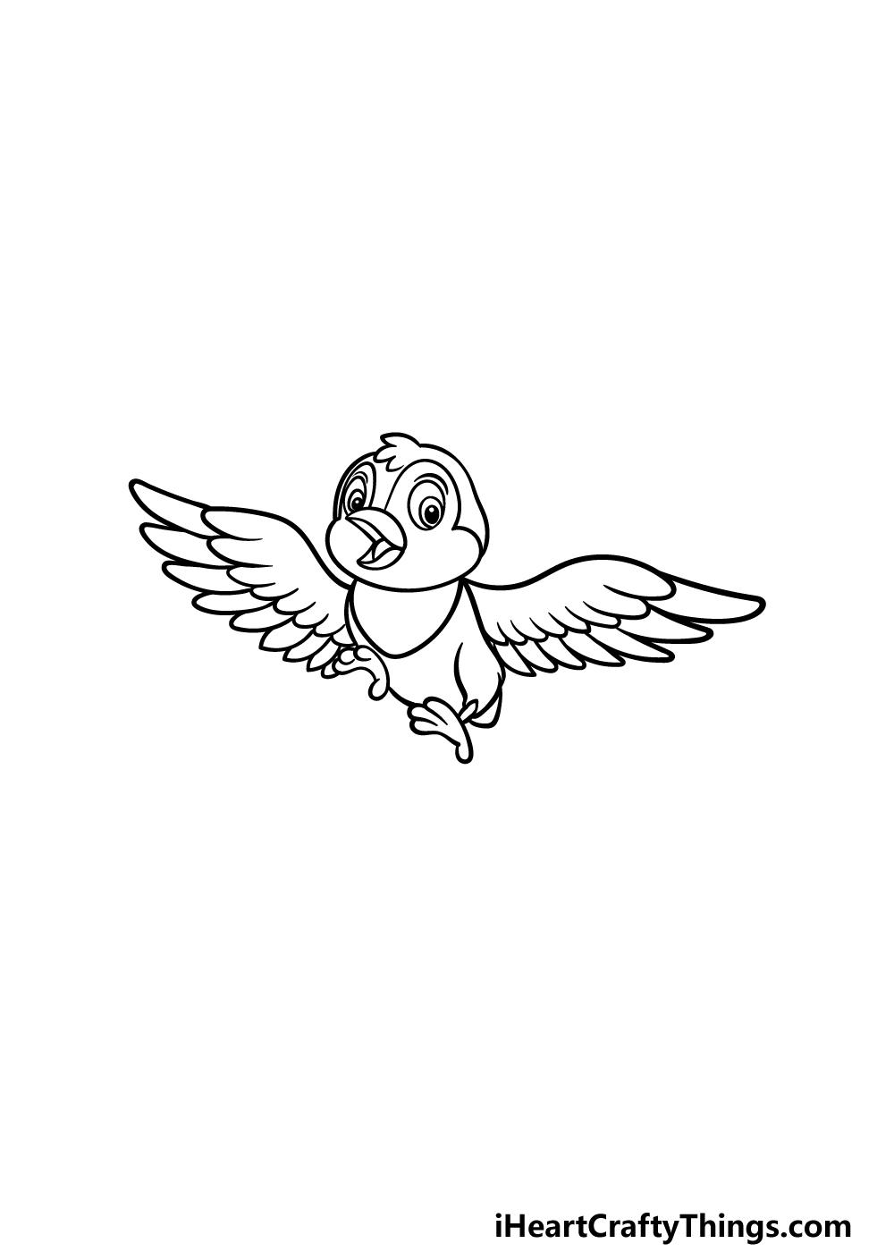 how to draw a cartoon bird step 4