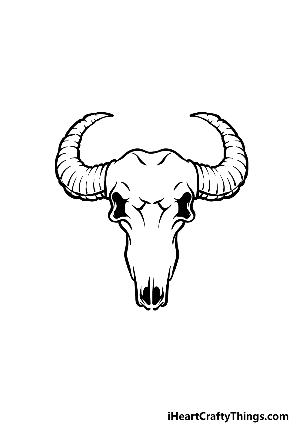how to draw a bull skull step 4