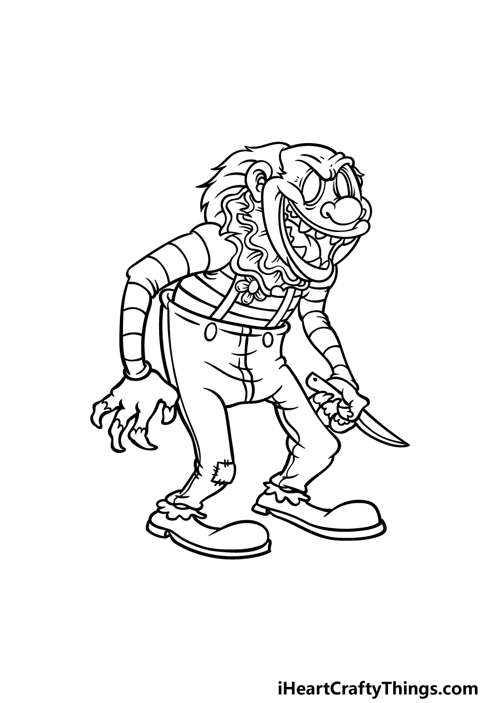 drawing a scary clown step 5