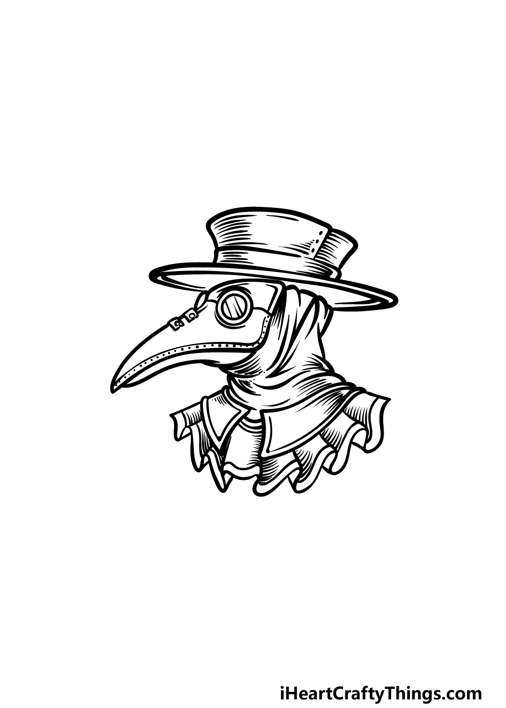 drawing a plague doctor step 5