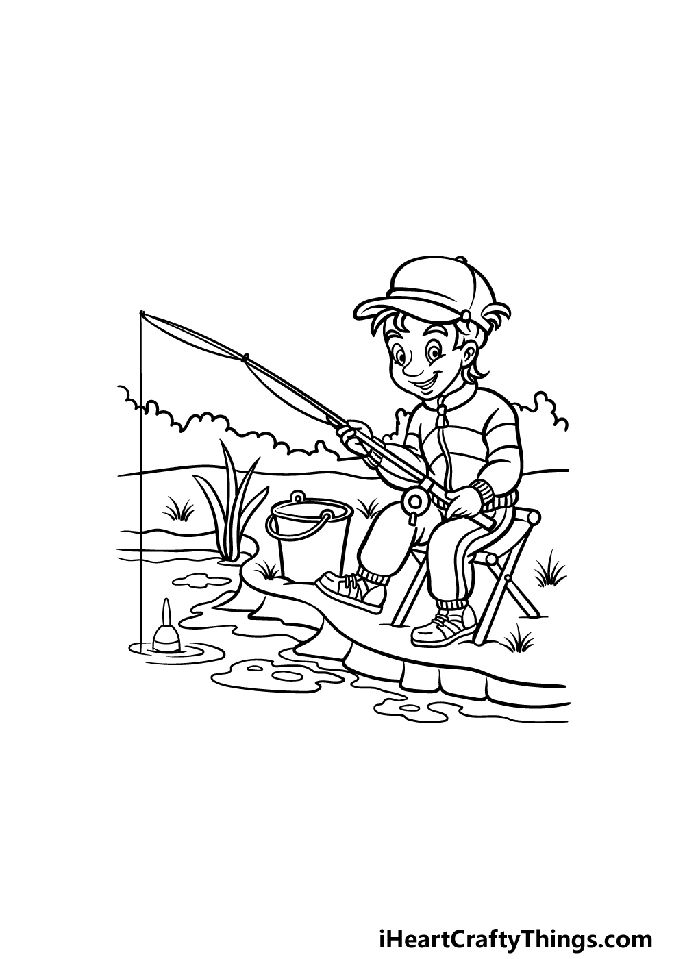 how to draw fishing step 5