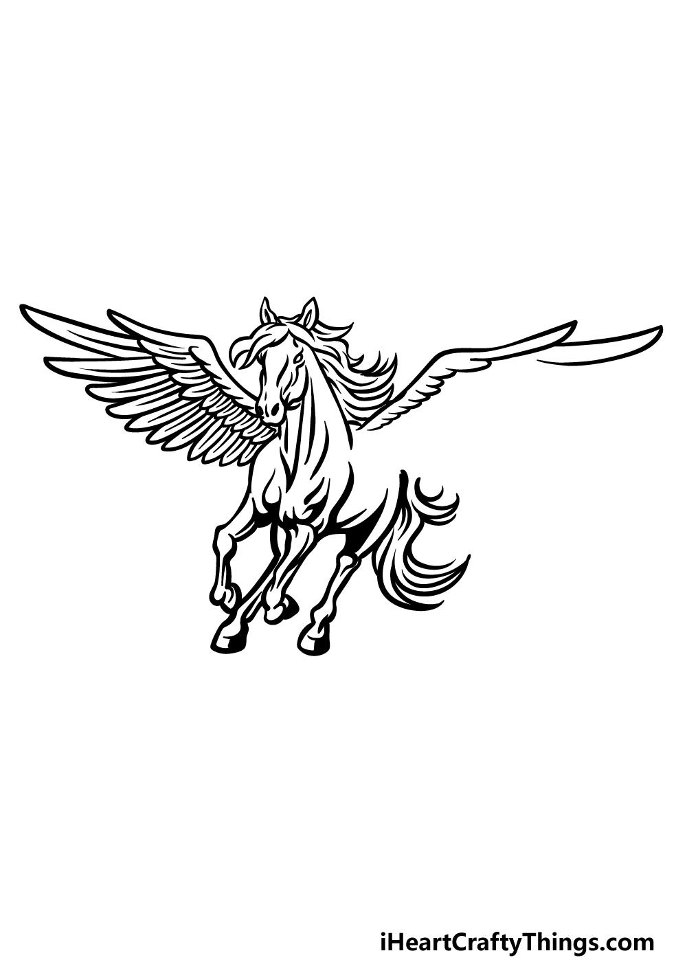 how to draw Pegasus step 5