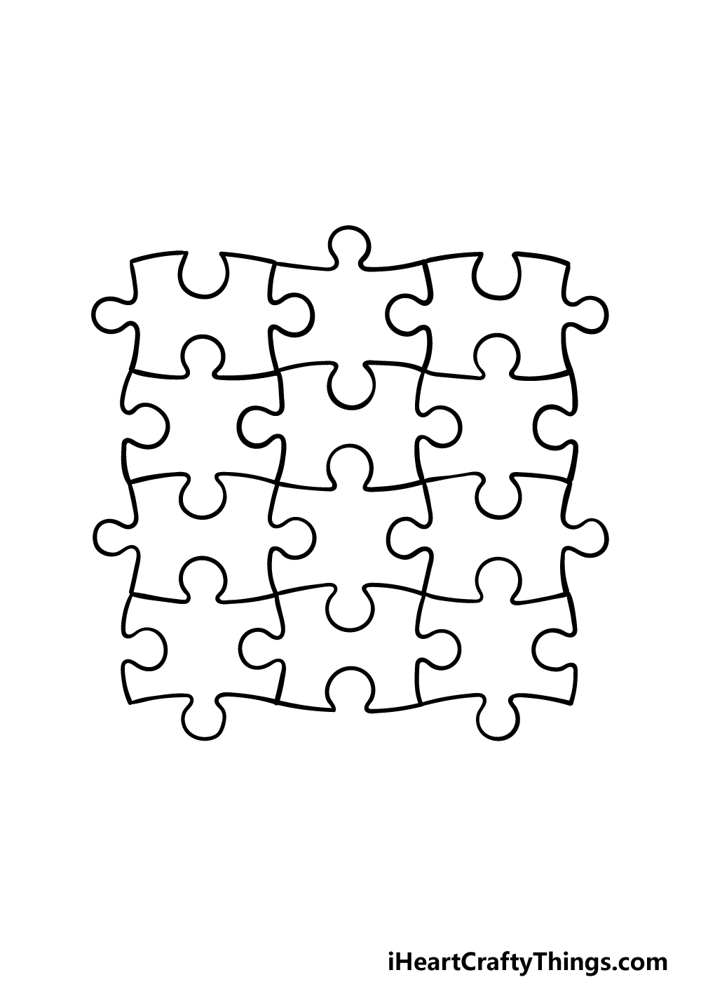 how to draw Puzzle Pieces step 5