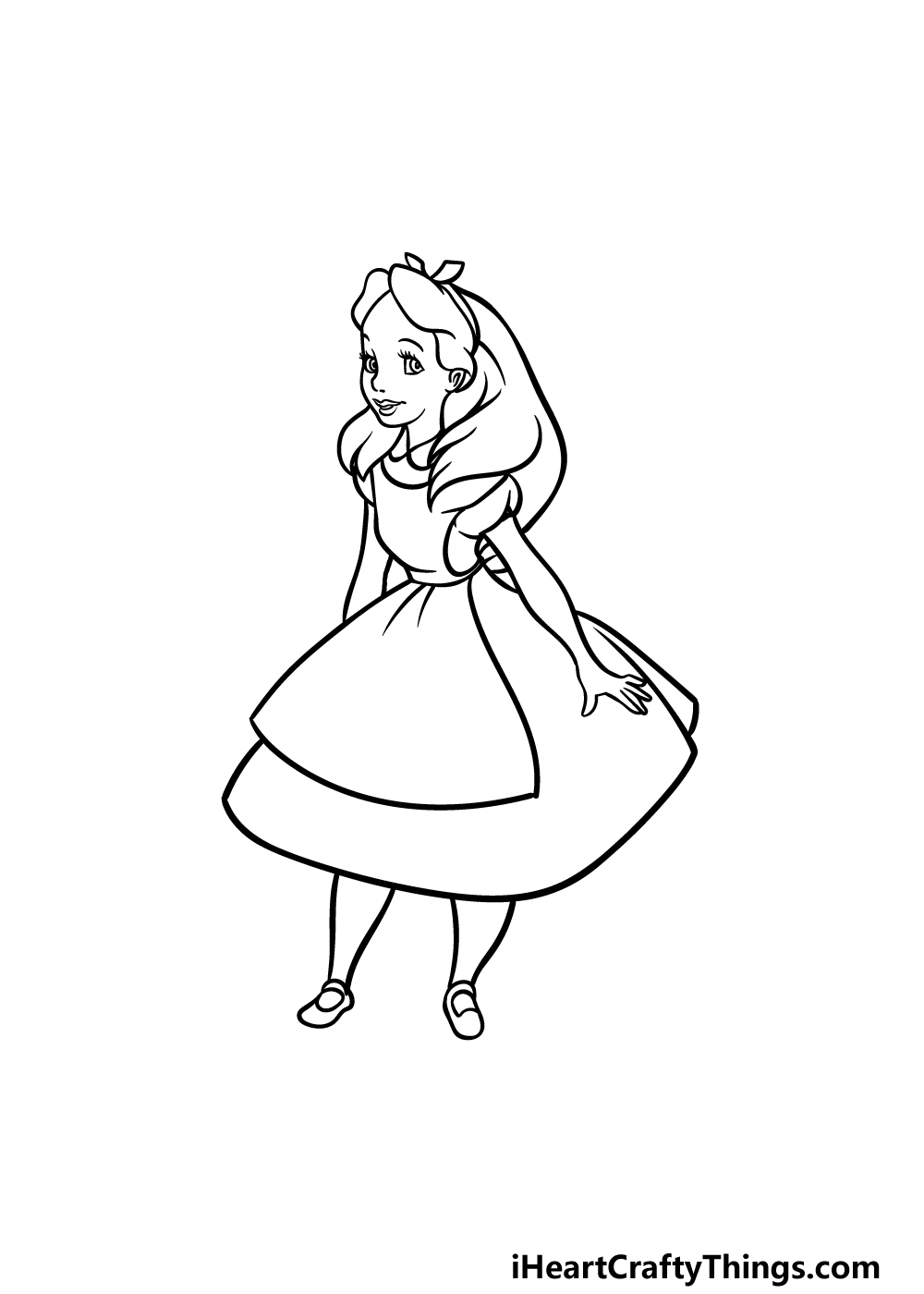 how to draw Alice in Wonderland step 5