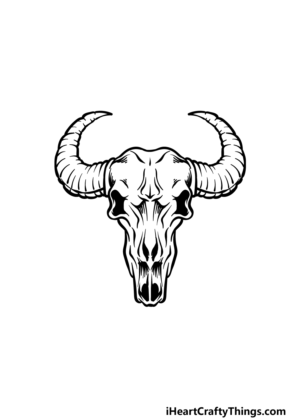 how to draw a bull skull step 5