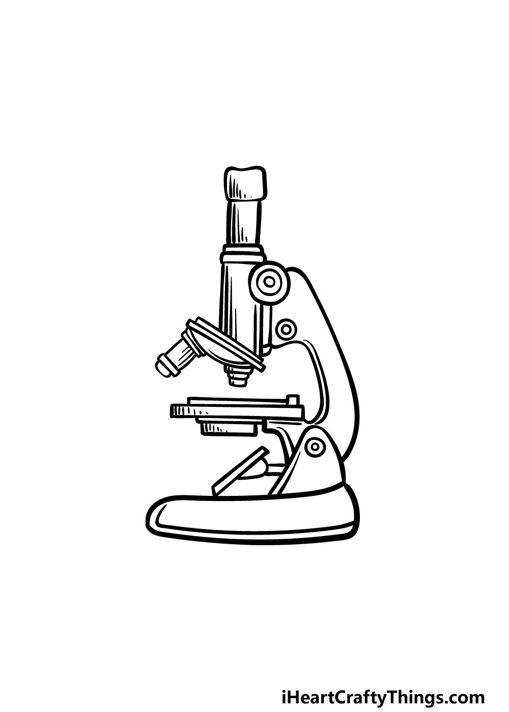 how to draw a microscope step 5