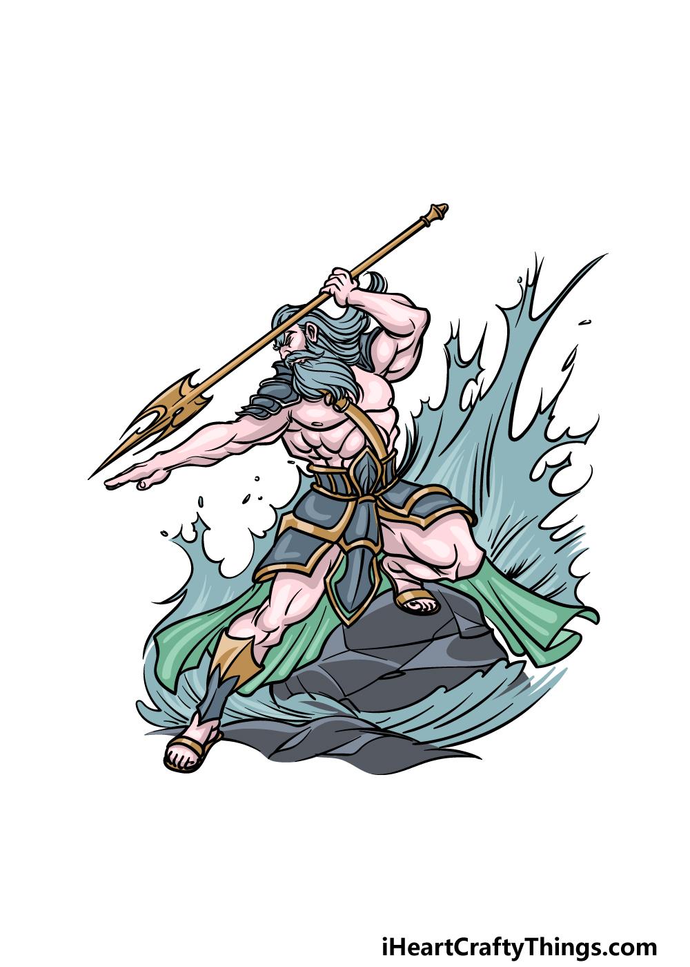 how to draw Poseidon step 6