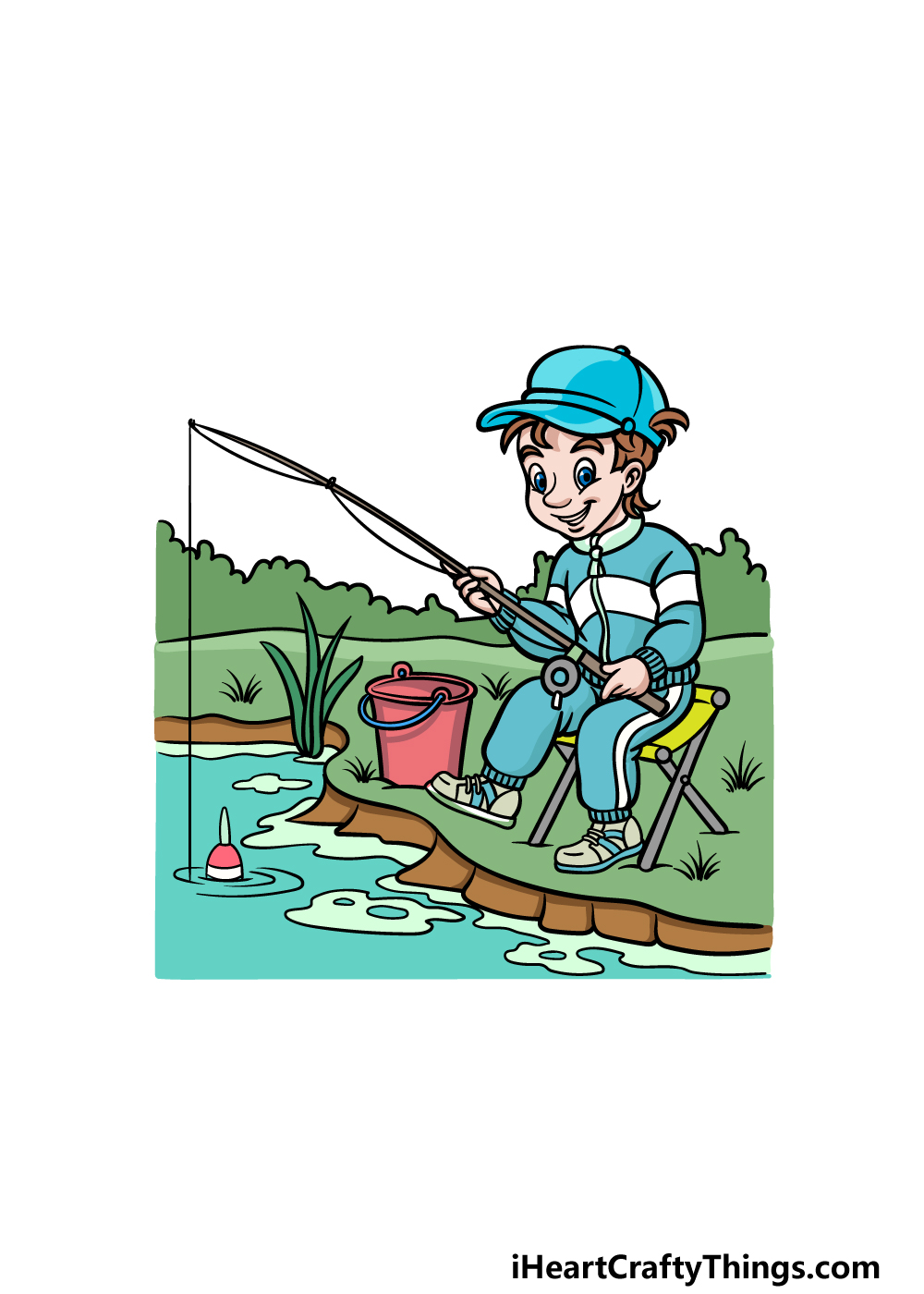 how to draw fishing step 6