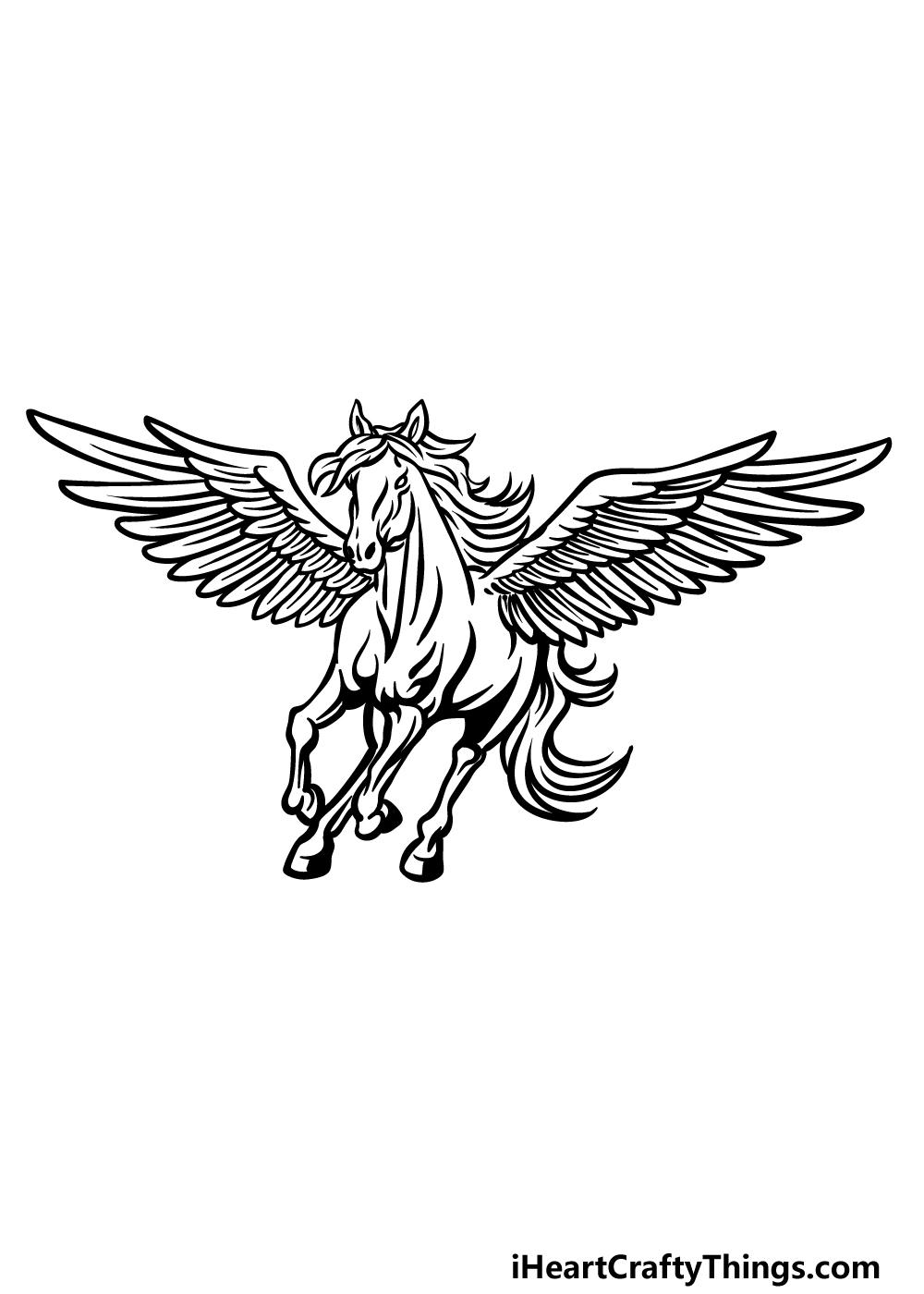how to draw Pegasus step 6