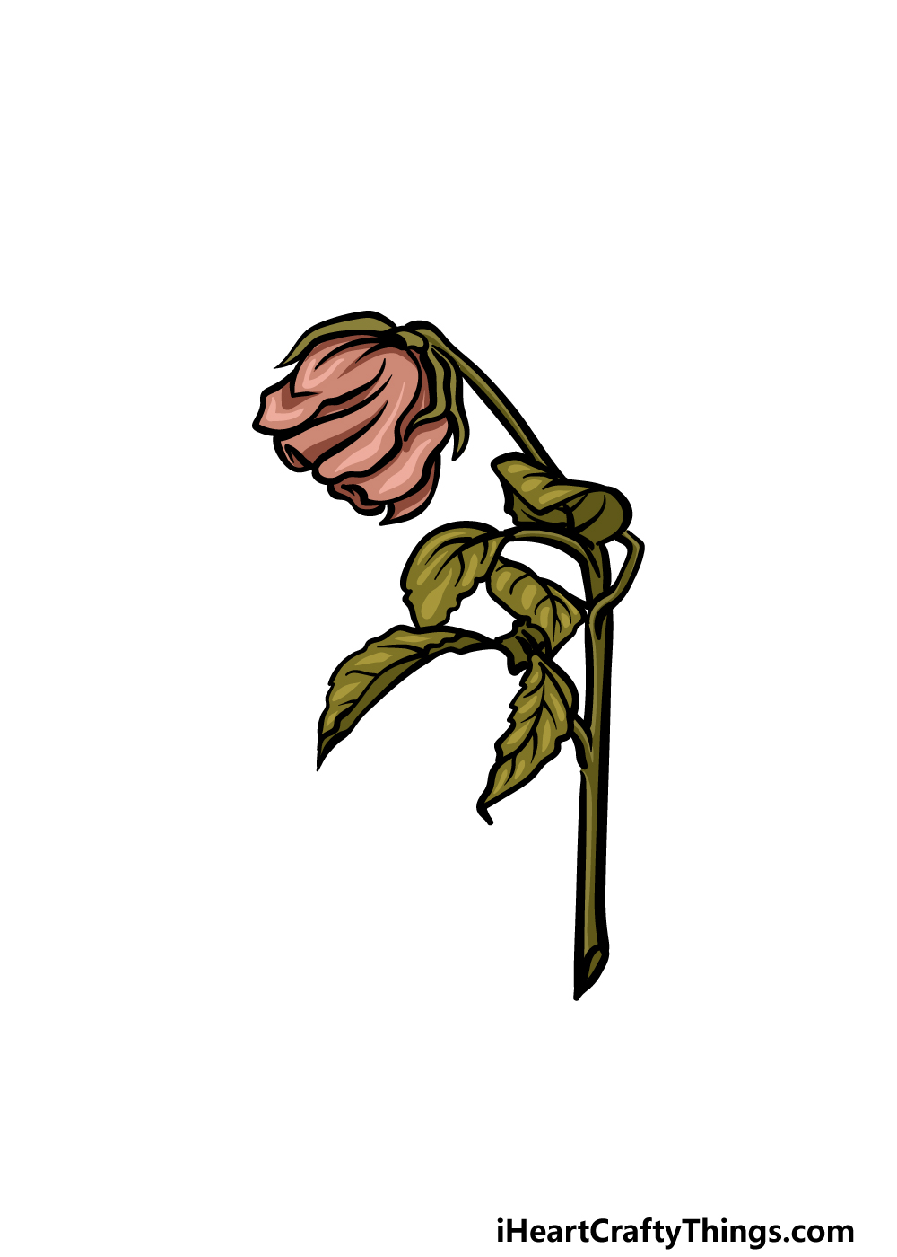how to draw a dead rose step 6