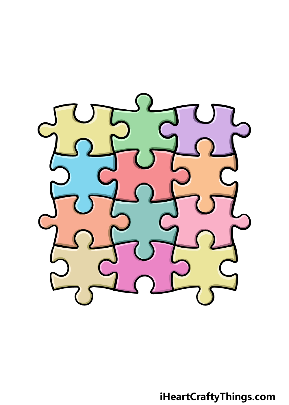 how to draw Puzzle Pieces step 6
