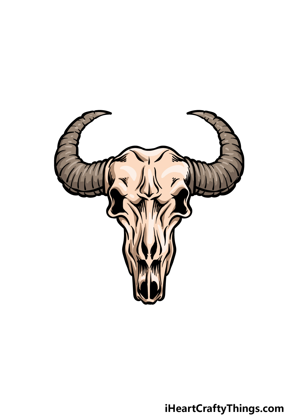 how to draw a bull skull step 6