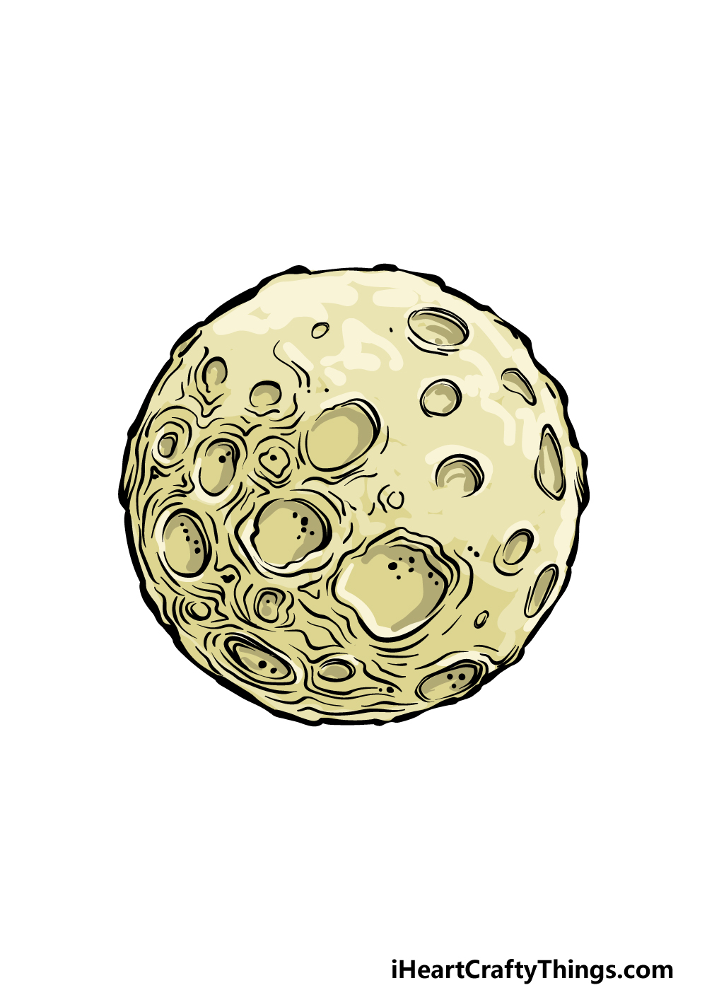 how to draw a full moon step 6