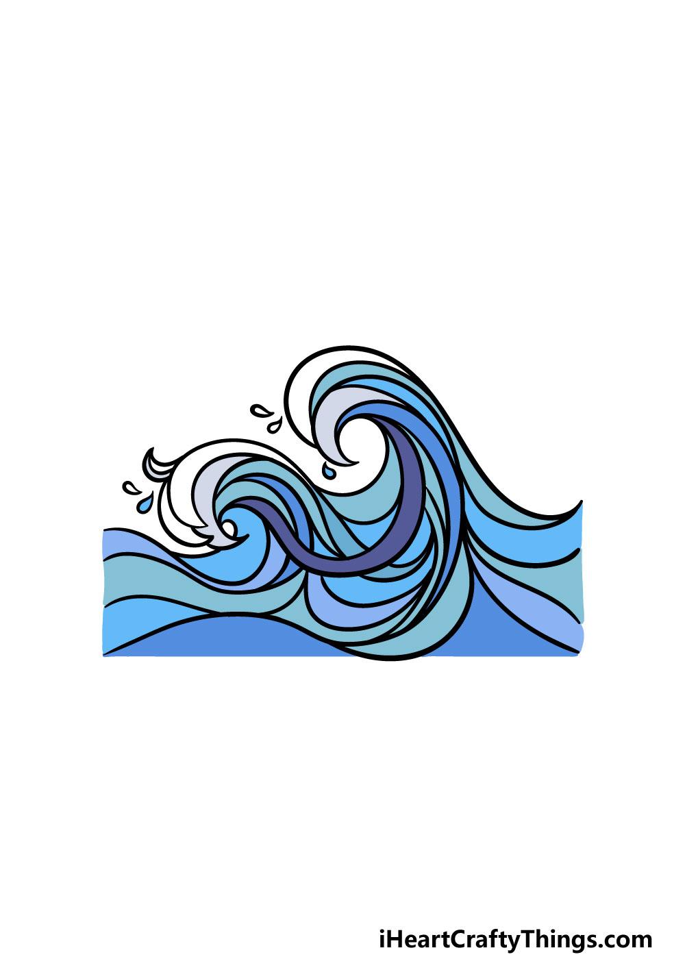 drawing ocean waves step 8