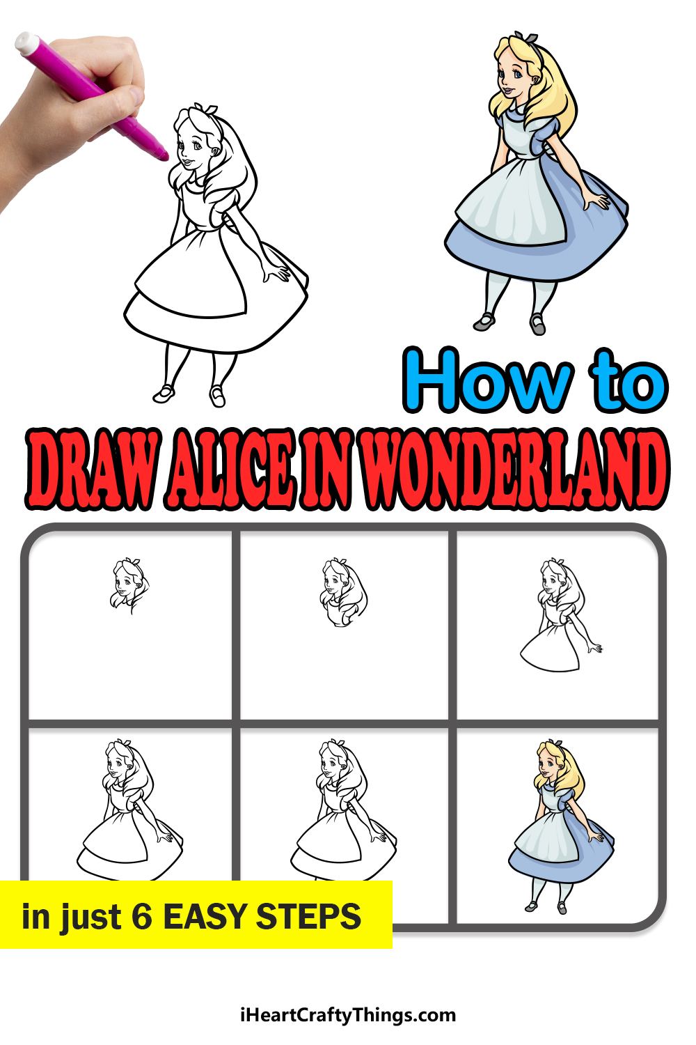 how to draw Alice in Wonderland in 6 easy steps