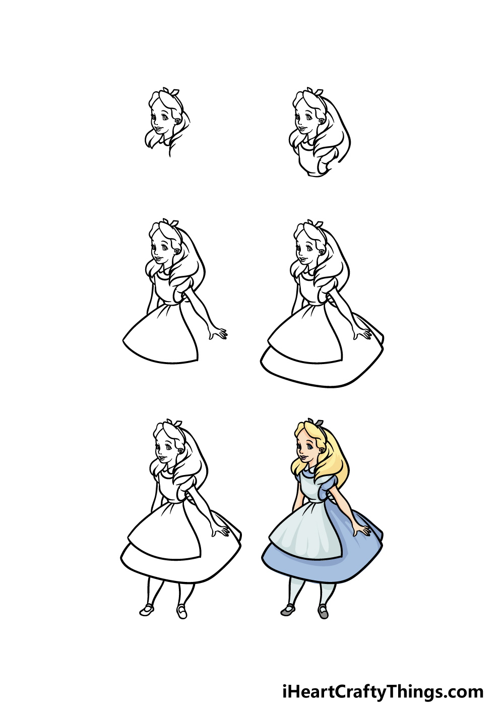 how to draw Alice in Wonderland in 6 steps
