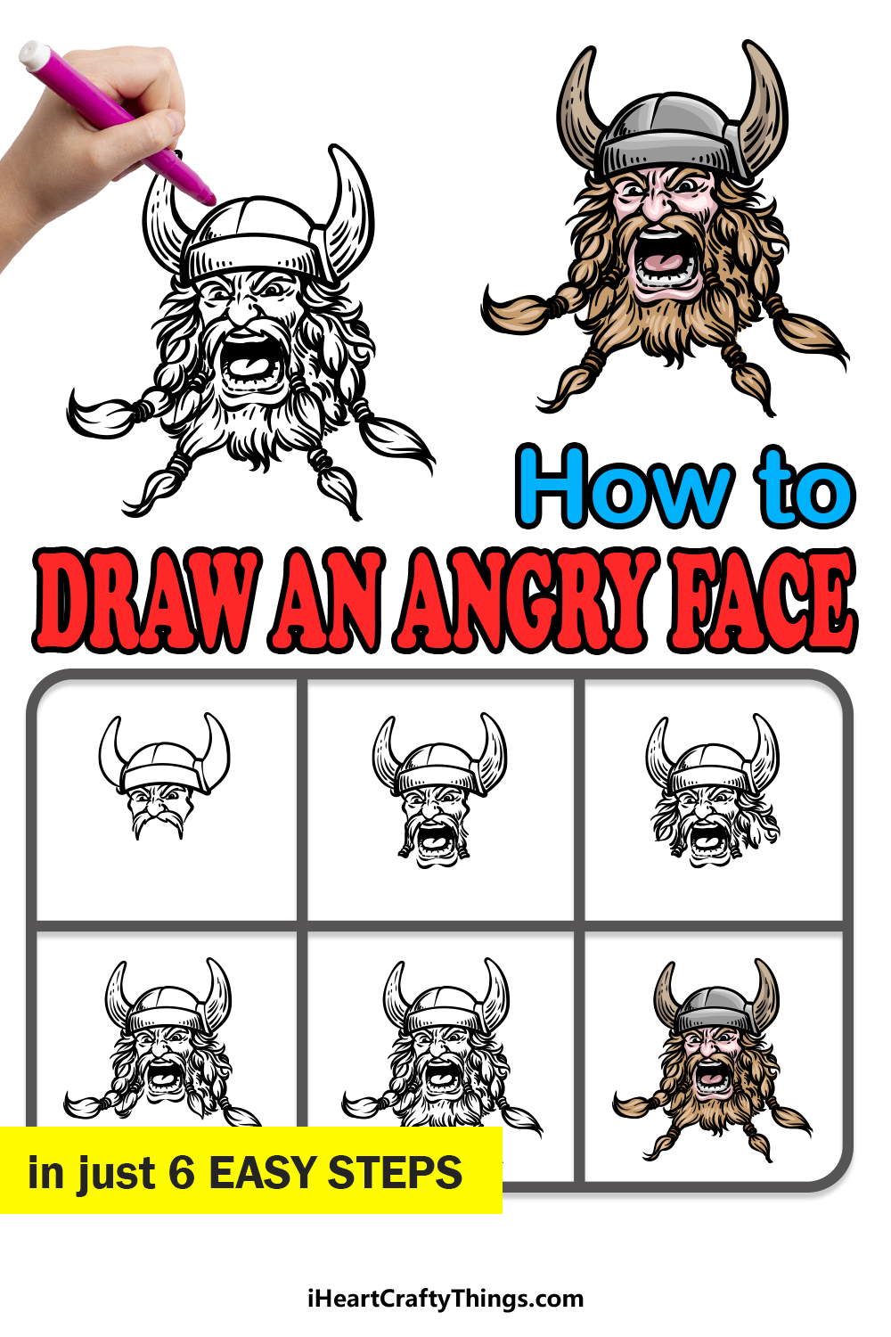 how to draw an angry face in 6 easy steps