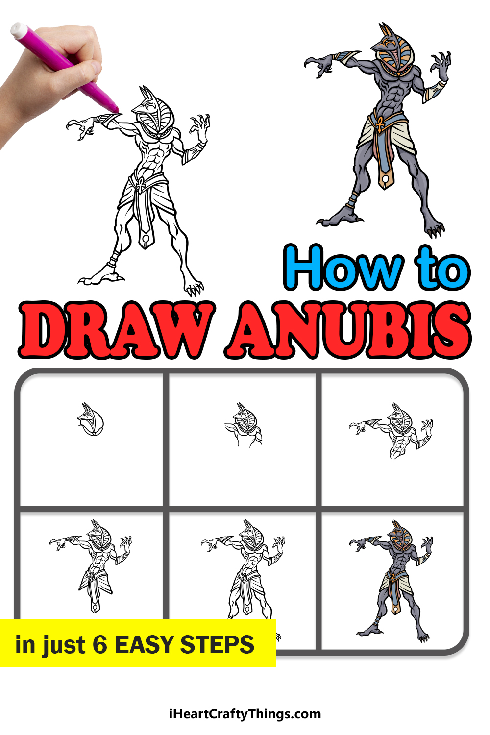 how to draw Anubis in 6 easy steps