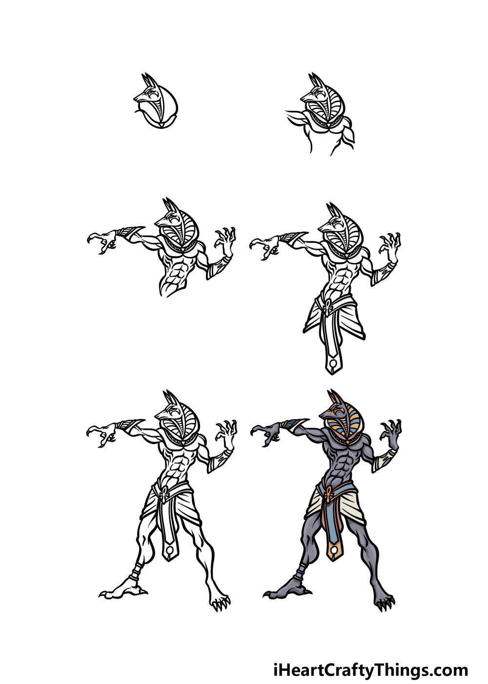 how to draw Anubis in 6 steps